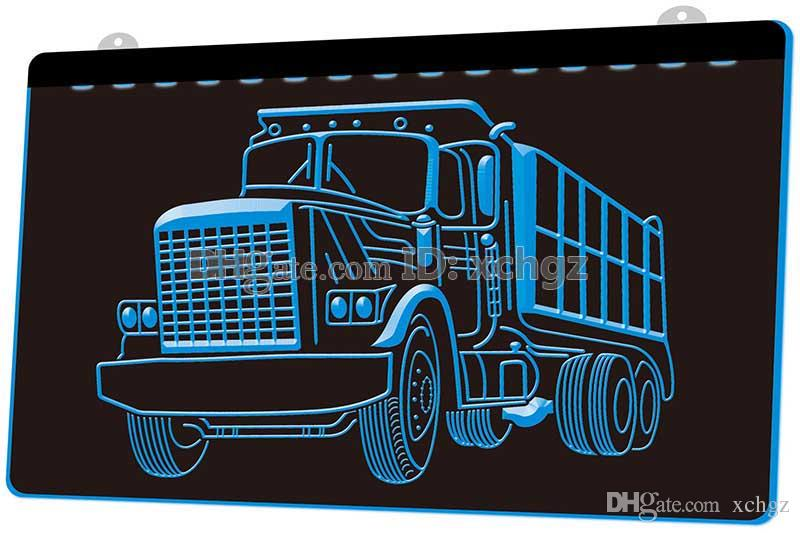 [F1722] Dump Truck Car Bar NEW 3D Engraving LED Light Sign Customize on Demand 8 colors