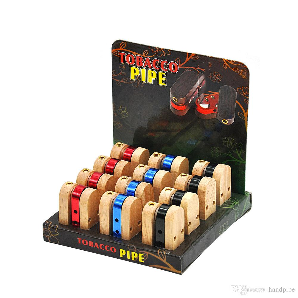 Pieghevole tubo di legno Pieghevole metallo simile Scimmia mano tabacco da pipa Tubo portatile Vaporizzatore Ciotola legno metallo tubo di fumo