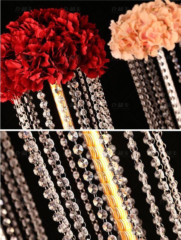 Akrilik Kristal Düğün Çiçek Topu Tutucu 80 cm / 100 cm Masa Centerpiece Vazo Standı Kristal Şamdan Düğün Dekorasyon Altın Gümüş