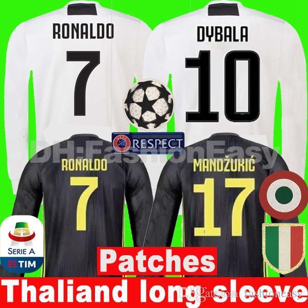 38202432e18 TOP RONALDO 18 19 Juventus Soccer Jersey Men Long Sleeve Football ...