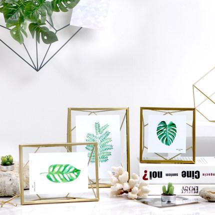 Creative Modern Glass Photo Frame Set Geometric Gold Picture Frame ...