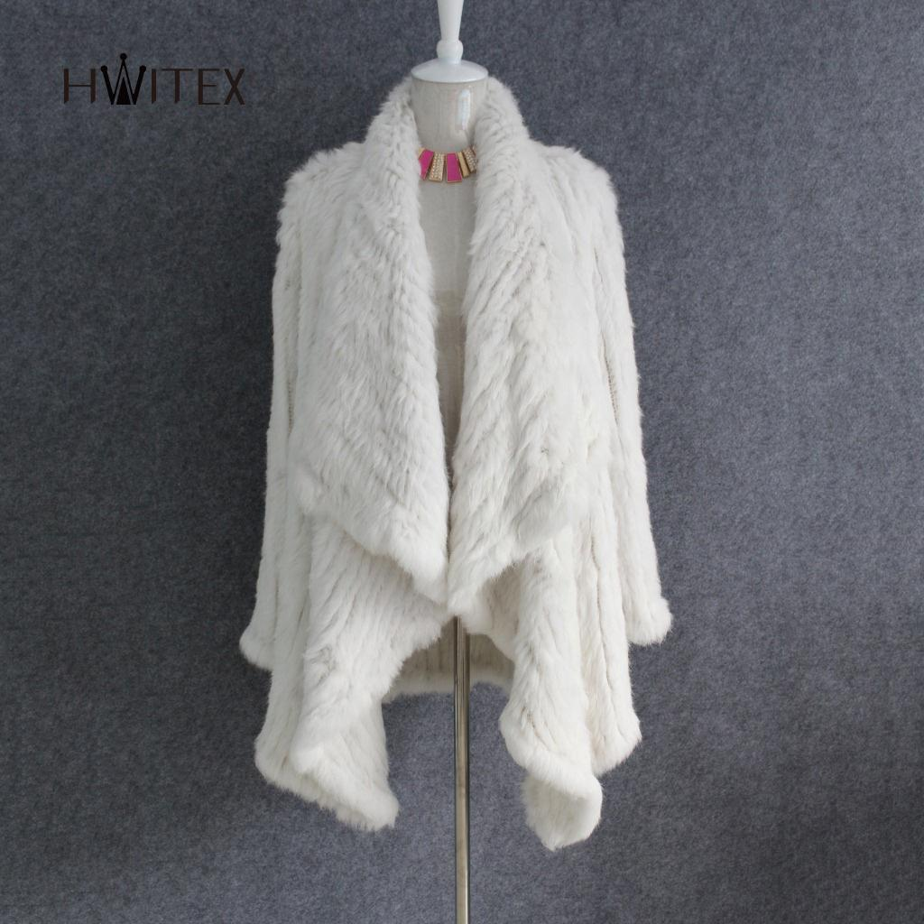 JM030 2018 women New real rabbit fur knitted fur shawl cardigan jacket girl lapel repair long cloak coat
