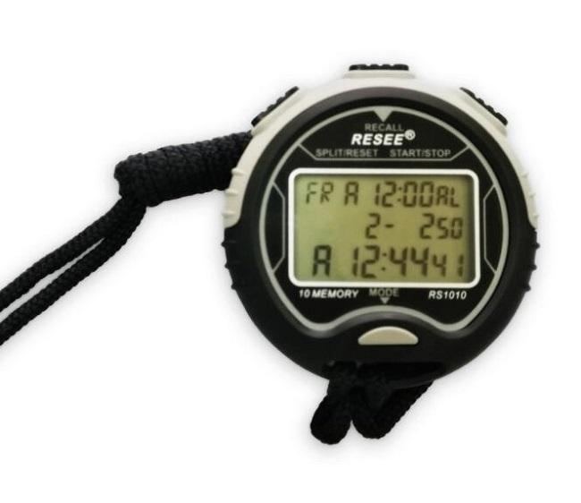 Electronic Stopwatch with 3 Rows Handheld Digital LCD Sports Stopwatch Professional Timer Chronograph Counter RS1010 Waterproof DHL free
