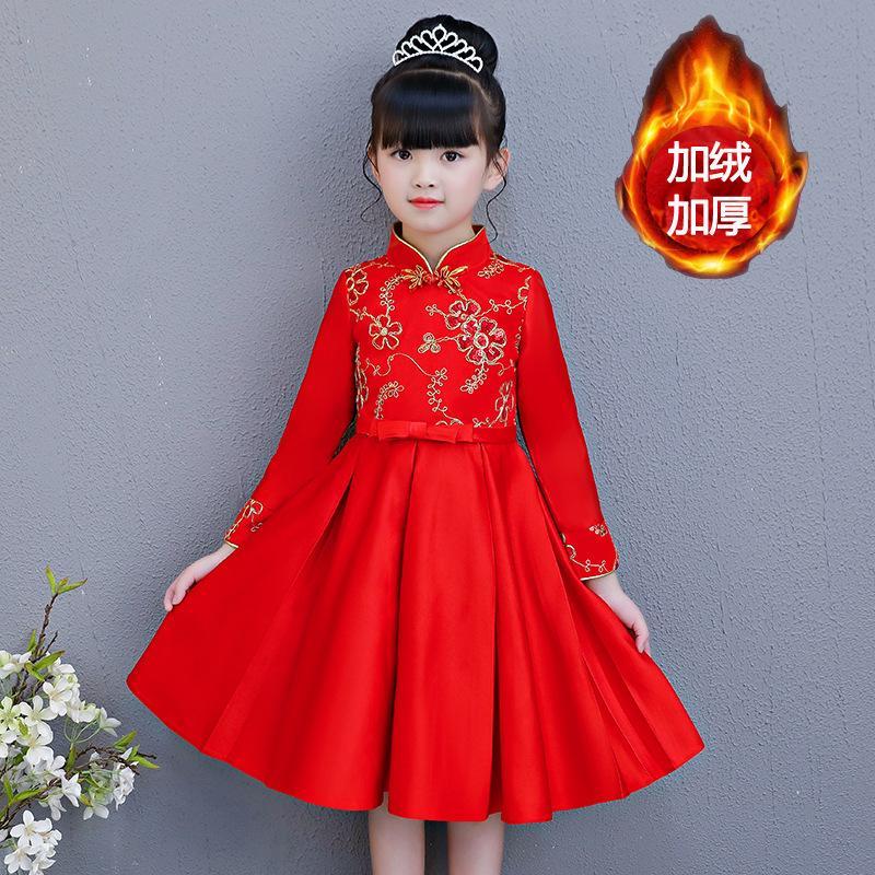 11f6167aa94 Acheter Robe Rouge Fille D hiver Fille Enfants À Manches Longues Princesse  Chinoise Pour Enfants Avec Peluche De  189.95 Du Raoxuemei