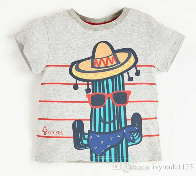 NEW ARRIVAL summer boys Kids 100%Cotton short Sleeve cartoon peopel with hat print T shirt boys causal summer t shirt
