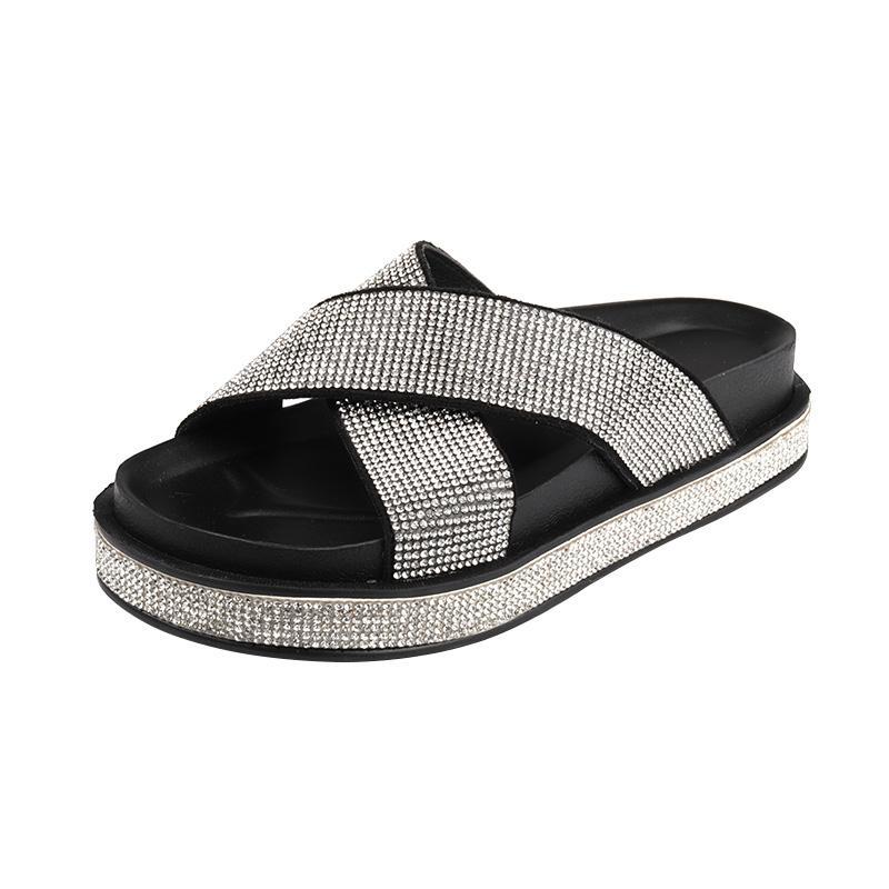 6c963a917afd6a Großhandel Mode Sommer Frauen Hausschuhe Kristall Perlen Plattform Sandale  Schuhe Strand Flip Flops Von Vanilla13