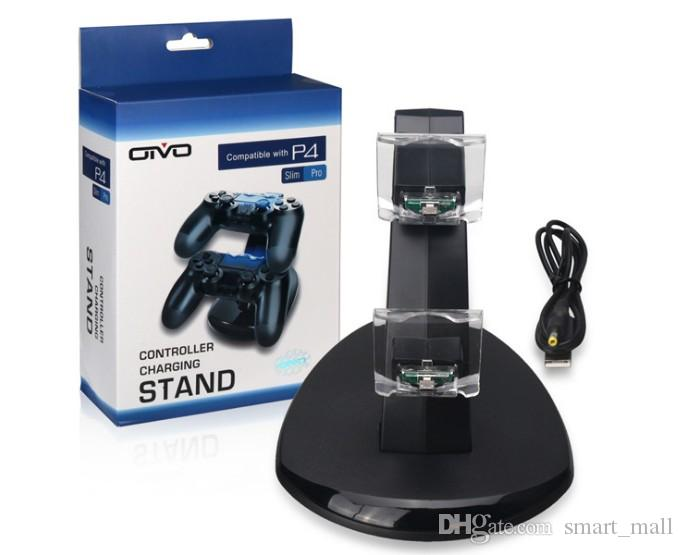 Dual chargers for ps4 xbox one wireless controller 2 usb charging dock  mount stand holder for ps4 xbox one gamepad playstation with box LLFA