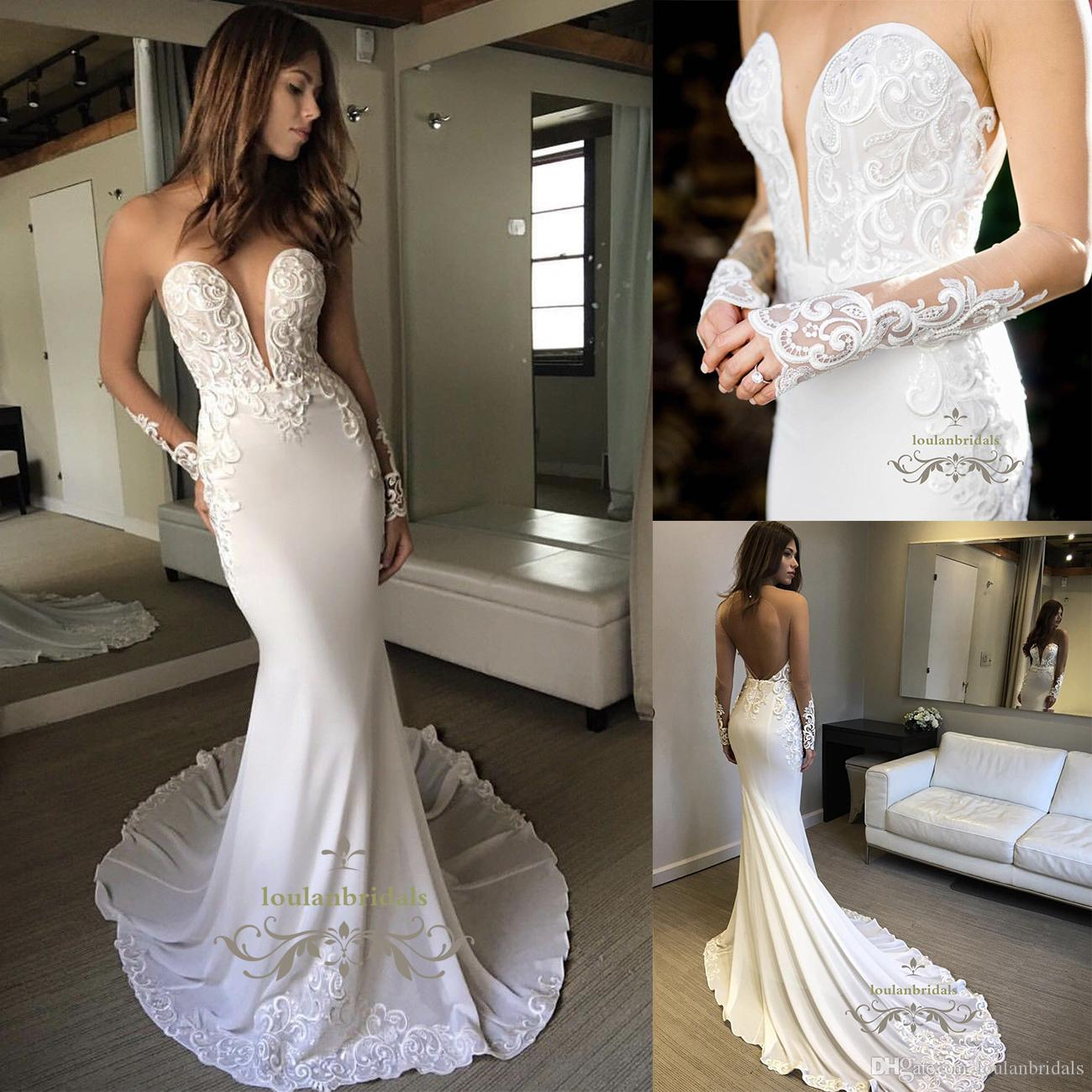 Elegant Illusion Long Sleeve Fit And Flare Chiffon Wedding Dress ...