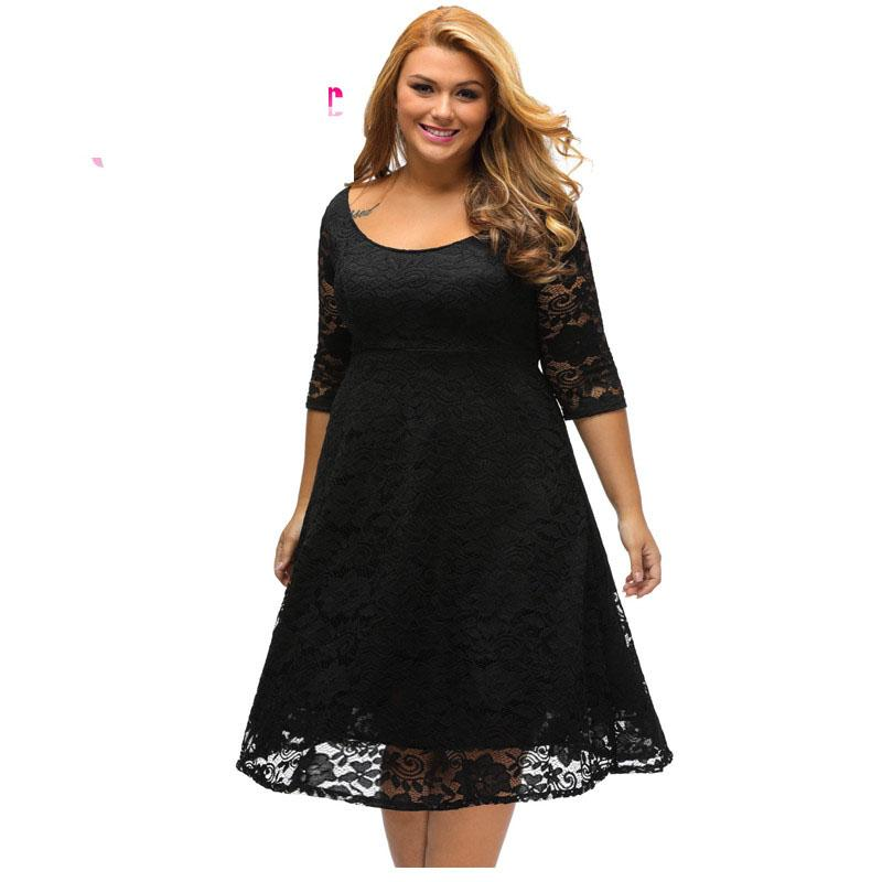 Autumn Dress Plus Size Women Clothing White/Black Floral Lace Sleeved Fit  and Flare Curvy Dress Vestido Casual C61395