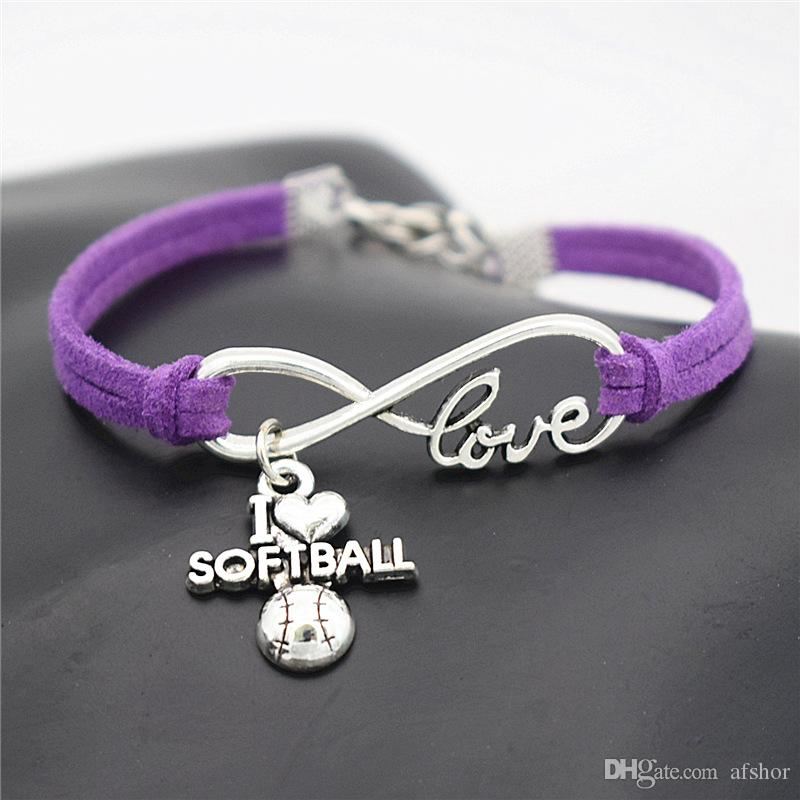 AFSHOR Punk Sport Antique Silver I Love Softball Pendant Charm Leather Suede Bracelet for Women Men Softball Team Gift Infinity Love Jewelry