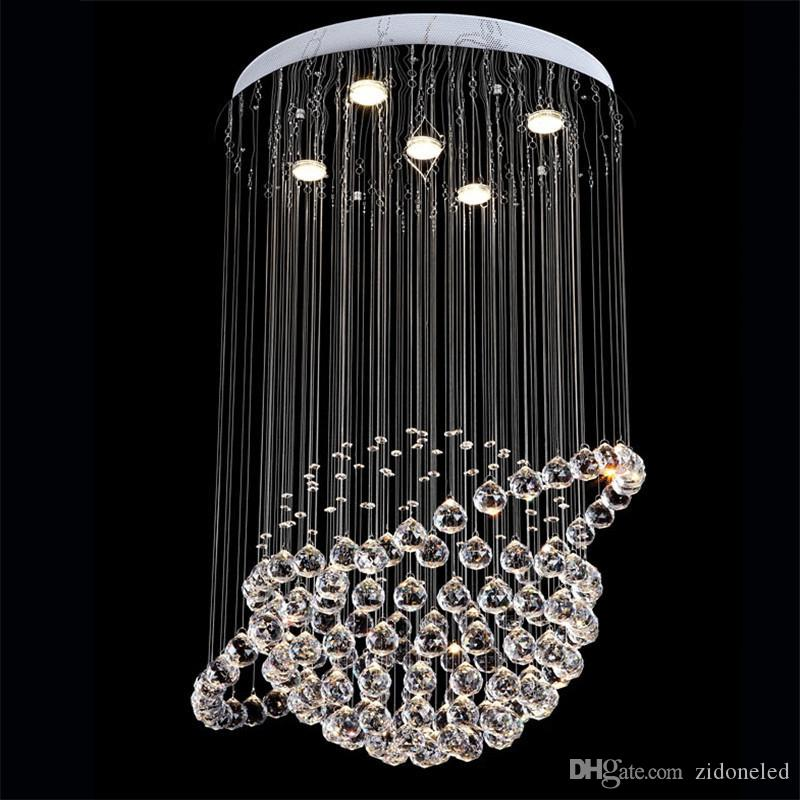 Modern Round K9 Crystal Chandeliers Raindrop Flush Ceiling Light Stair Pendant Lights Fixtures Hotel Villa Crystal Ball Shape Lamp