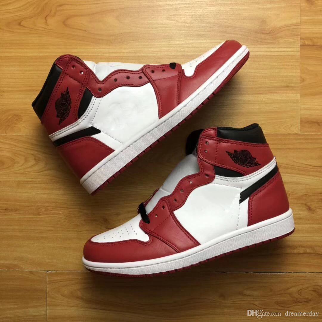 new products f4728 c4e26 High Red 1 OG Chicago Weiß schwarz Varsity rot Mann Basketball Schuhe Sport  Turnschuhe Top Qualität mit Original Box 555088 101