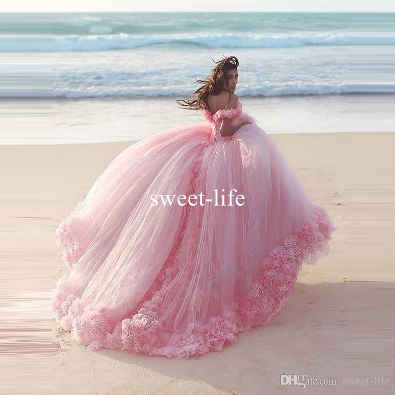 2020 Cinderella Princess Dresses Ball Gown Quinceanera Dresses Handmade Flowers Off the Shoulder Tulle Sweet Prom Dresses