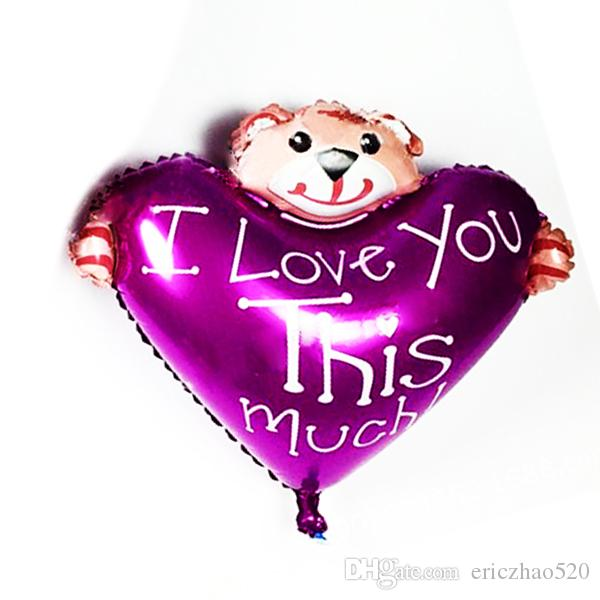 New Mini Bear heart Bear Foil Balloon Aluminum Balloons Valentines Day Party Decoration Balloon Wholesale Baby