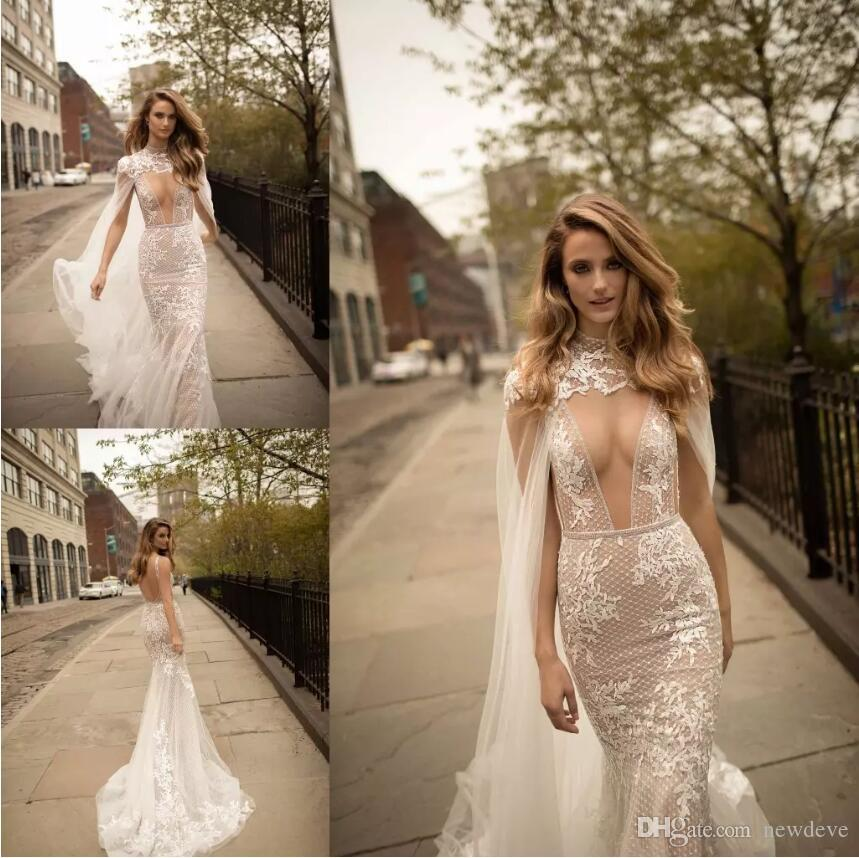 Berta Ivory Mermaid Wedding Dresses With High Neck Wraps Lace Appliques Sleeveless Sexy Open Back Deep Neckline Long Customized Bridal Gowns
