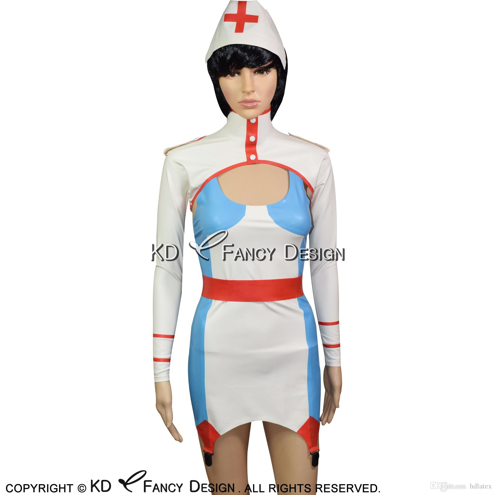Lake Blue With White And Red Sexy Nurse Latex Dress With Headgear Garters Rubber Crop Top Uniform Bodycon Playsuit Lyq  From Hdlatex