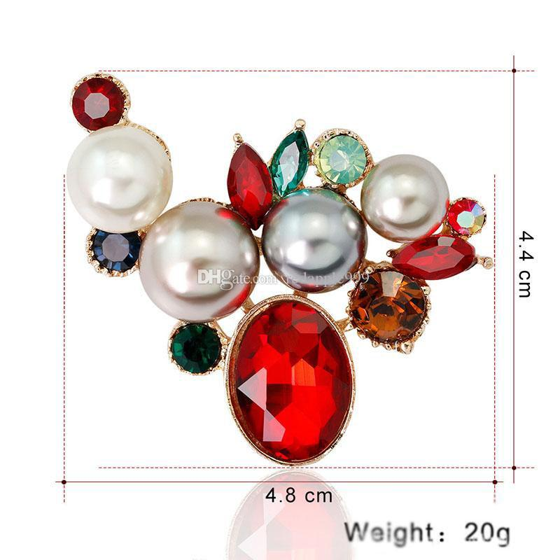 Flower Brooches Red white Enamel Simulated-pearl Crystal Rhinestone Gold Color Brooch Pin For Women Jewelry Gift for wedding bride