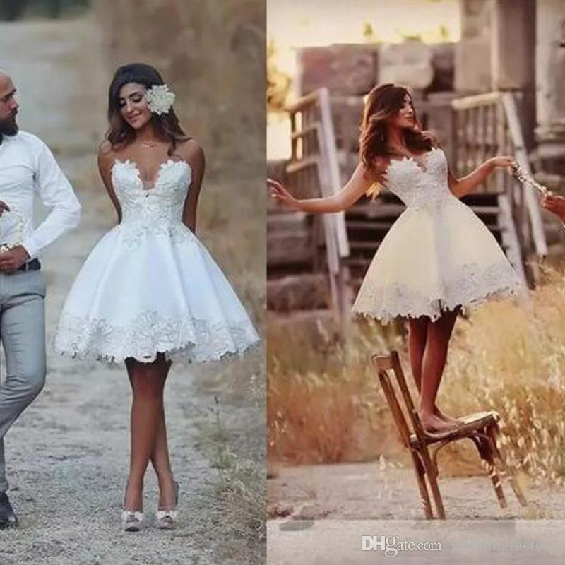 29095f3603399c Discount 2018 Short Mini Cheap Simple A Line Wedding Dresses Sweetheart  Sleeveless Lace Appliques Knee Length African Plus Size Bridal Gowns  Vestidos A Line ...