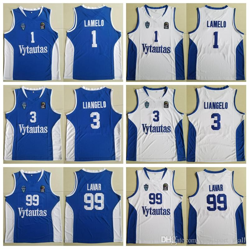df756ebcf49c 2019 Men Lithuania Prienu Vytautas Basketball Shirt 1 LaMelo Ball Jersey 3 LiAngelo  Ball Uniform 99 LaVar Ball All Stitched Good Team Blue White From ...