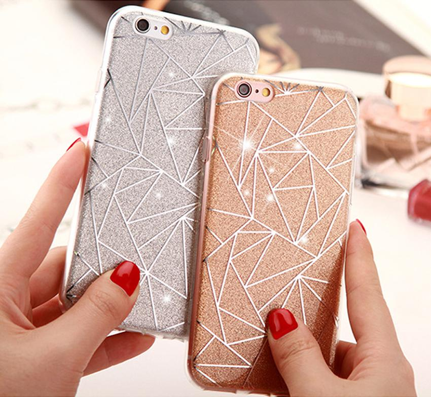 For iPhone 7 6 6S Plus 8 Plus Cover Case Glitter Powder Silver Rhombus Soft TPU Case For iPhone X Capa