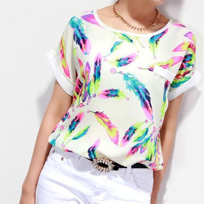 1b5fc41ab40ccd 2019 2019 Summer Feminine Shirts Women Feathers Print Chiffon Blouse Top  Casual Short Sleeve Loose Women Blouses Femininas Plus Size From Feeling01