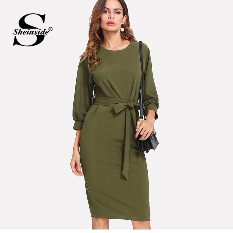 X Sheinside Army Green Workwear Bodycon Midi Dress Office Ladies Long  Sleeve Knee Length Belted Sheath Women Autumn Elegant Dress Purple Floral  Maxi Dress ... 0b3e1ccff