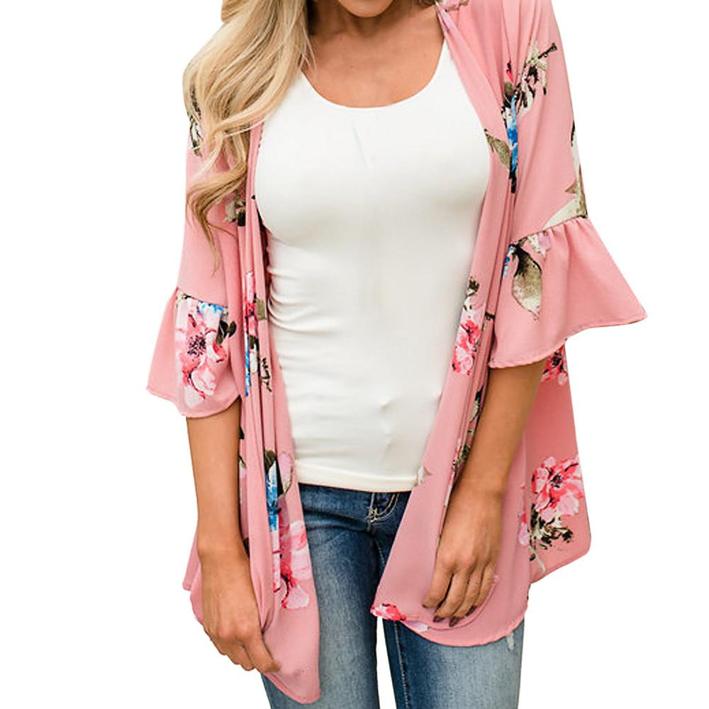 18c02472c6b 2019 Plus Size Summer Kimono Cardigan Womens Tops And Blouses Boho Floral  Print Blouse Tunic Beach Ladies Top For Womens Clothing From Hannahao