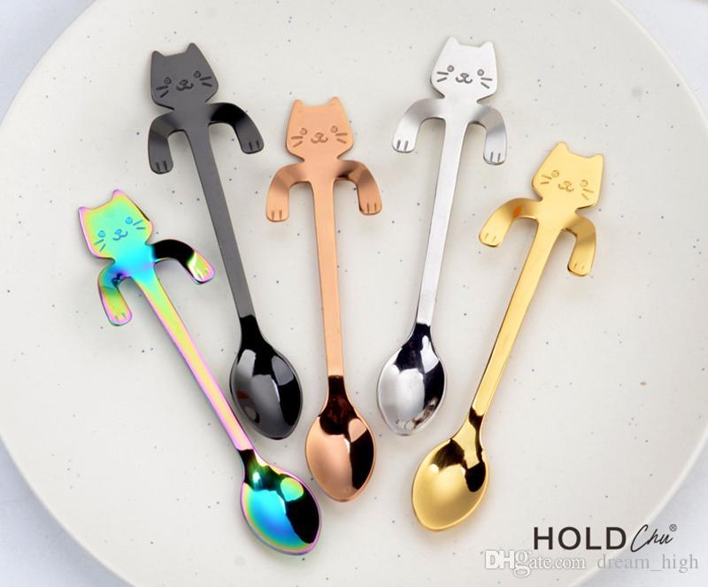 Colheres De Gato de Aço inoxidável Dos Desenhos Animados Criativo Ice Cream Sobremesa Longa Lidar Com Chá de Café Colher De Mesa Utensílios De Cozinha