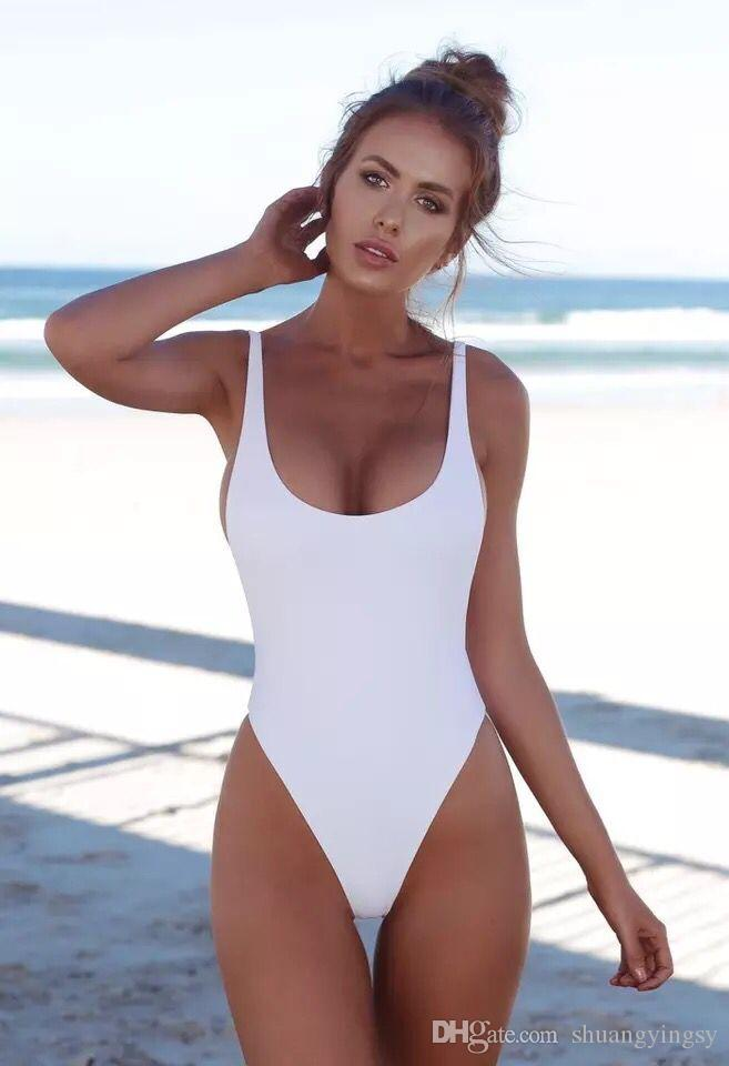 2677254174e SHUANGNew Arrival White One Piece Backless Swimwear Sexy Bandage ...