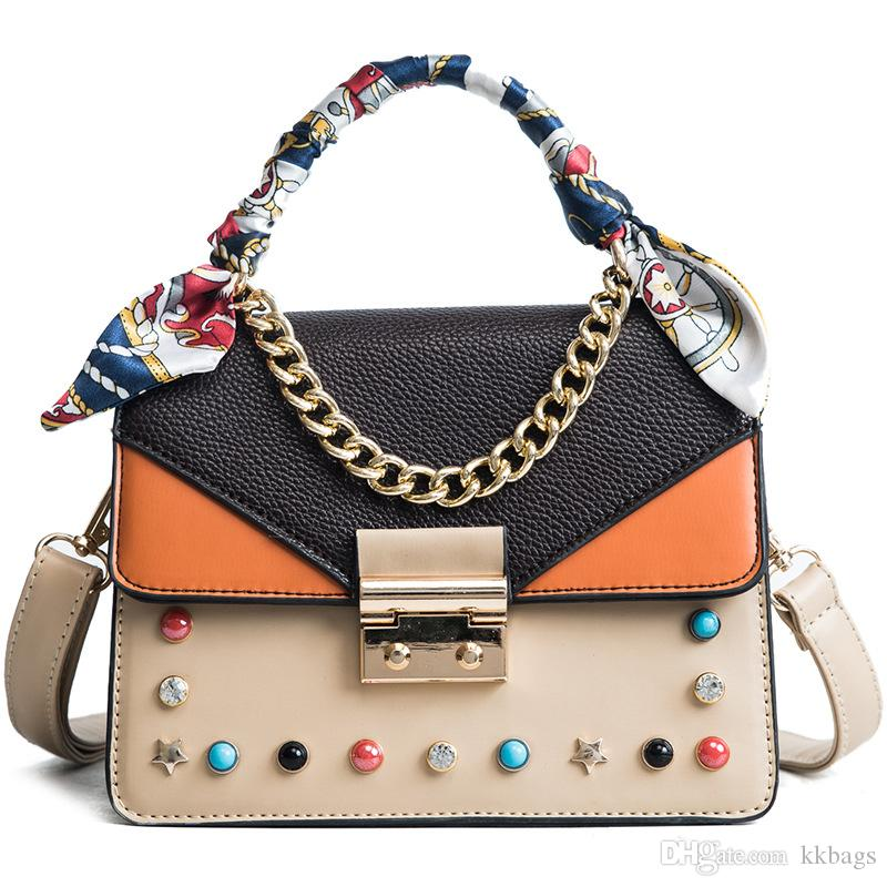 7862e3384f Fashion Rivet Handag Lady S PU Single Shoulder Bag Beads Pentagram Decorate Cross  Body Bag Feature Totes Handbag Wholesale Womens Bags From Kkbags