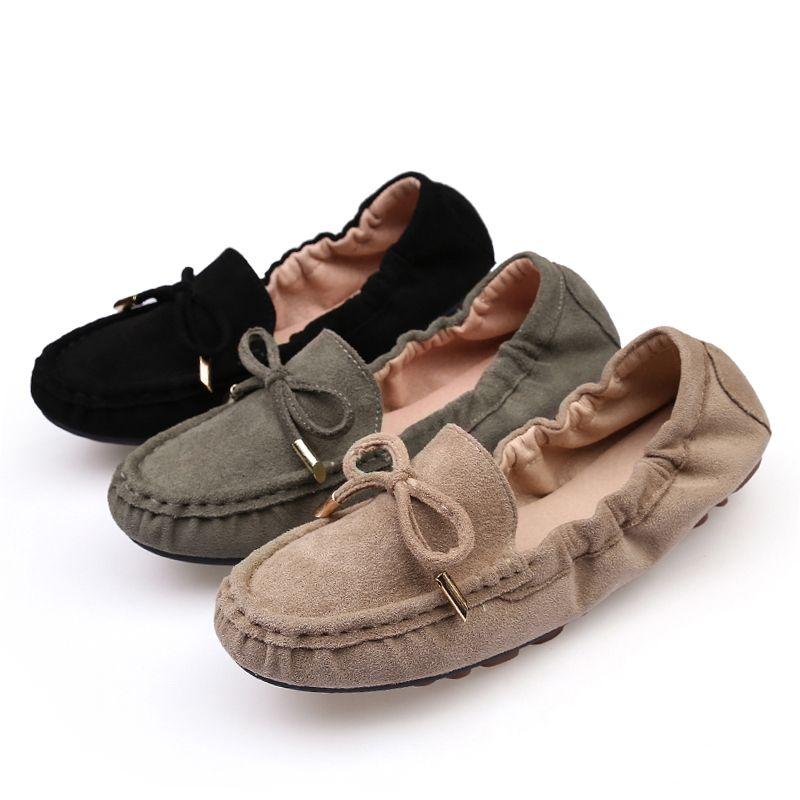 6ead9a5e383 Compre Zapatos De Moda Para Mujer Vaca Suede Pajarita Mocasines Ballet  Flats 2018 Casual Slip On Shoes Mujer Shallow Soft Women Zapatos Planos A   38.05 Del ...