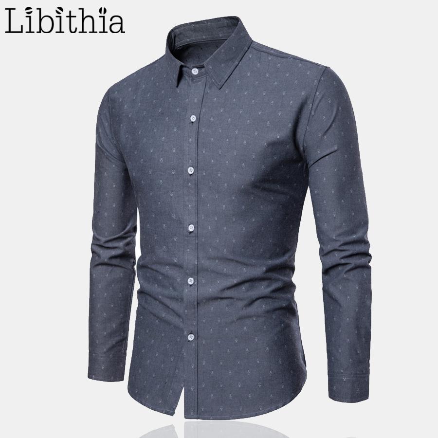 2371a51be4 Compre Camisas De Vestir De Estampado Para Hombres 3XL Tipo Estándar Camisa  De Cuello Alto Informal Manga Larga Camisas De Negocios Sociales Azul Caqui  ...