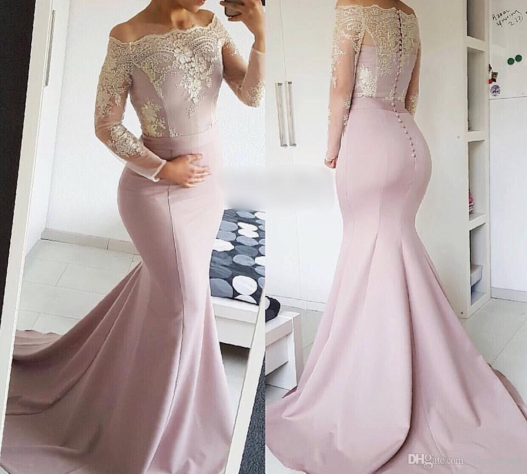 c21881e271d Sexy Boat Neck Long Sleeve Evening Dresses Arabic Lace Prom Dresses Satin  Appliques Buttons Mermaid Formal Evening Gowns Robe De Soiree Summer Evening  ...