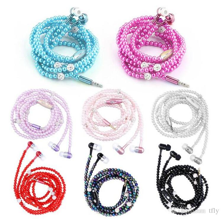 Hot Universal Fashion Pearl Necklace Earphones Rhinestone Jewelry In Ear Headphone With Microphone Earbuds headset For Iphone HuaWei