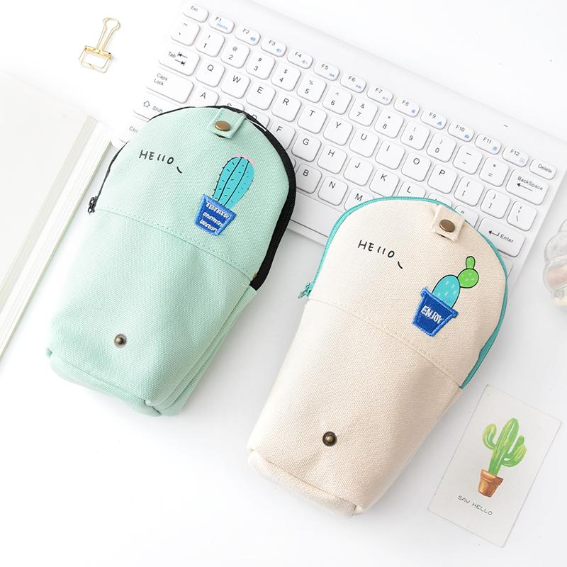 Korea creative pocket cactus curved pencil bag students simple small fresh large capacity pencil bag stationery