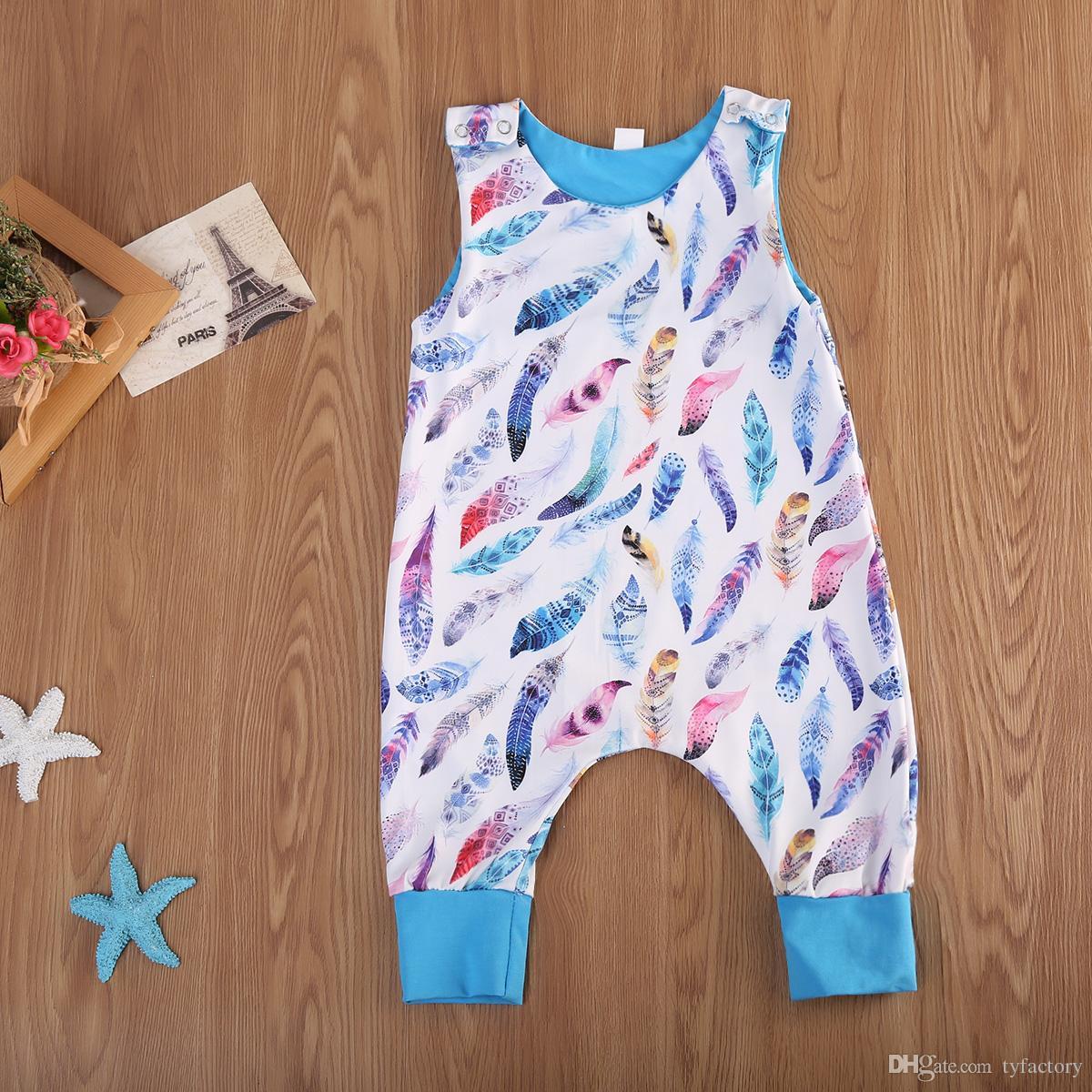 2019 newborn baby boy feather jumpsuit onesies blue romper toddler