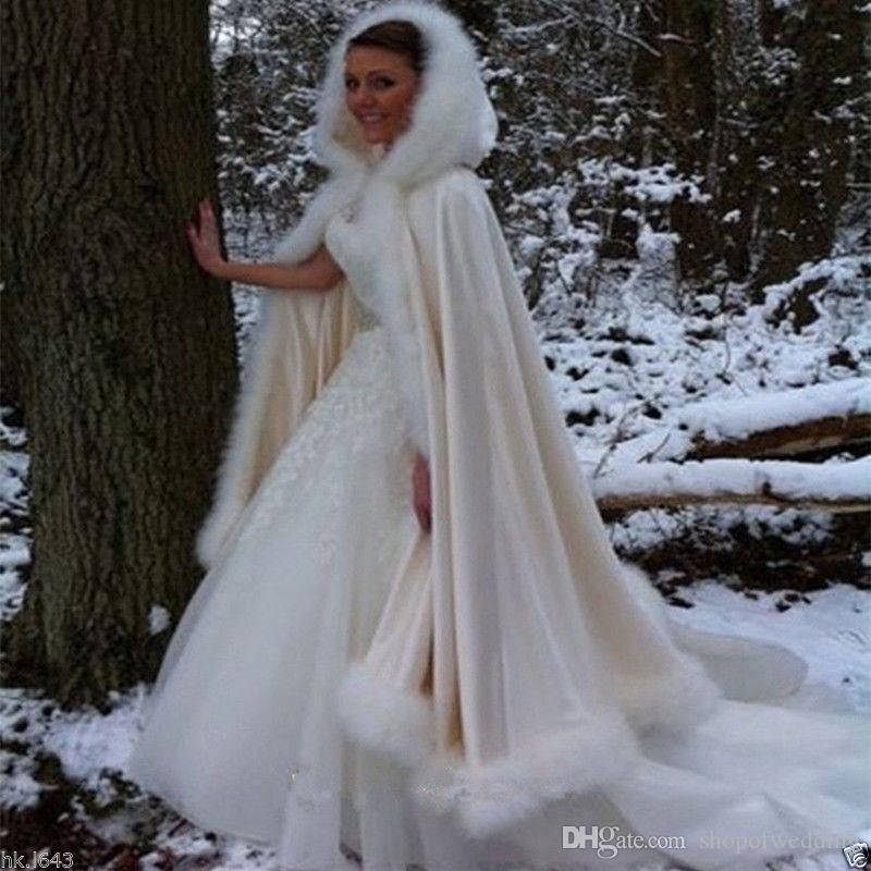 e50785610641 NEUE Braut Winter Hochzeit Mantel Cape mit Kapuze mit Pelzbesatz lange  Braut Winter
