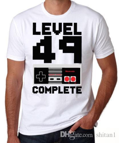 50th Birthday Level 49 Complete Video Game Son Dad Gift Present White T Shirt Cotton Cool Design 3D Tee Shirts Tshirts Printed From