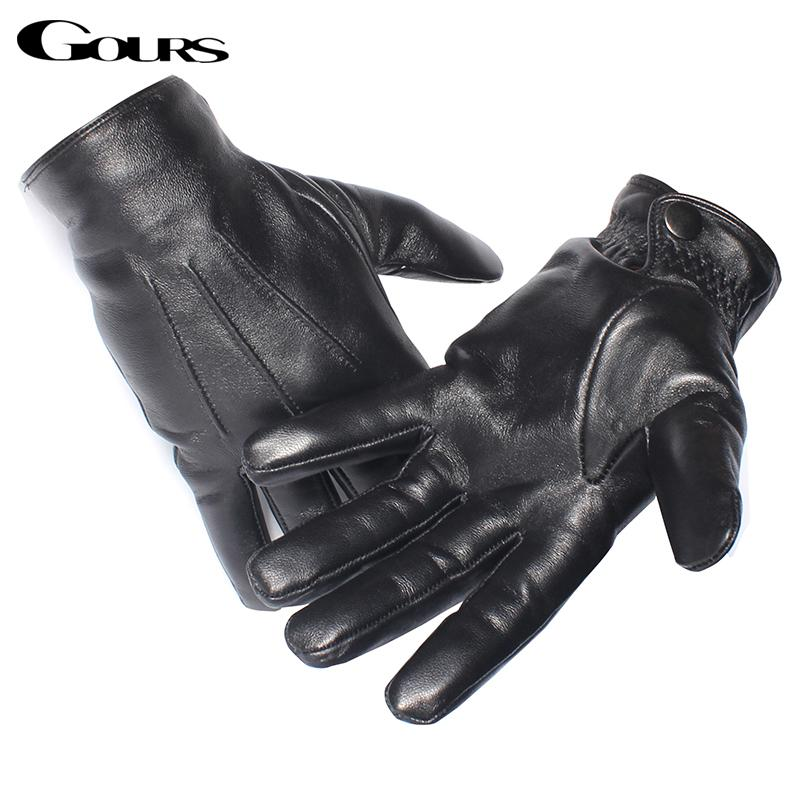Gours Men's Genuine Leather Gloves Real Sheepskin Black Touch Screen Gloves Button Fashion Brand Winter Warm Mittens New GSM050 C18111501