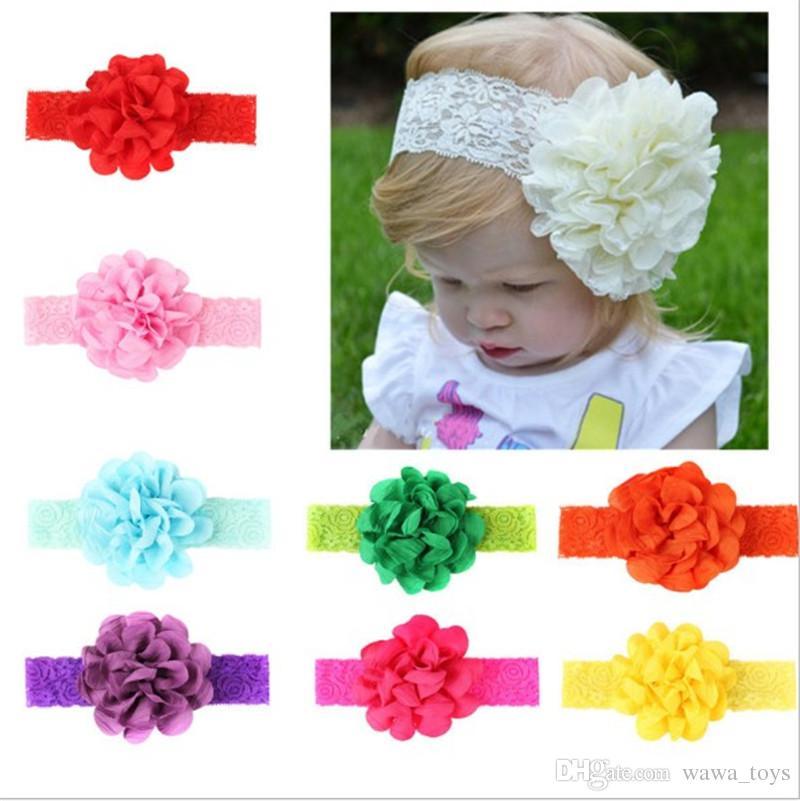 c66bafb82913 Cute Infant Hair Accessories Baby Girl Elastic Lace Flower Headband Toddler  Hair Band Headwear 9 Colours Toddler Girl Hair Accessories Designer Hair ...