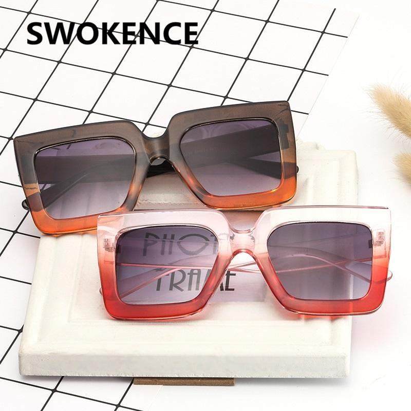 16a46f60af9 SWOKENCE Fashion Square Frame Sunglasses Women Men Name Brand Designer  Vintage Gradient Lens Sun Glasses Elegant Sun Shades SA40 Womens Sunglasses  ...