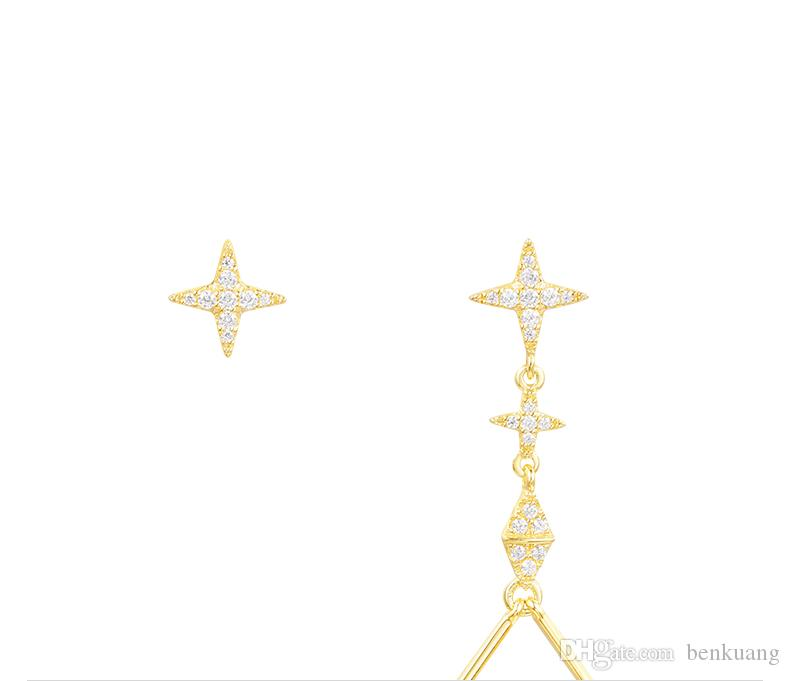 Asymmetric gold sterling silver bat earrings,Hand inlaid diamond,Famous brand high-end fashion Sterling silver with diamond jewelry