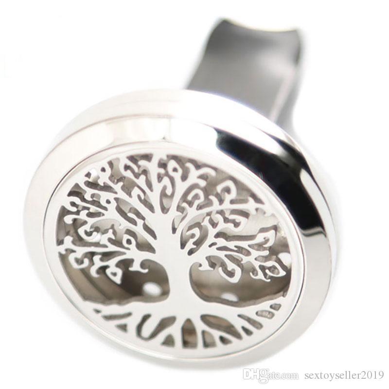 Hayat ağaçları Aromaterapi Uçucu Yağ cerrahi 30mm Paslanmaz Çelik Kolye Parfüm Difüzör Araba Madalyon Dahil 50 adet Keçe pedleri