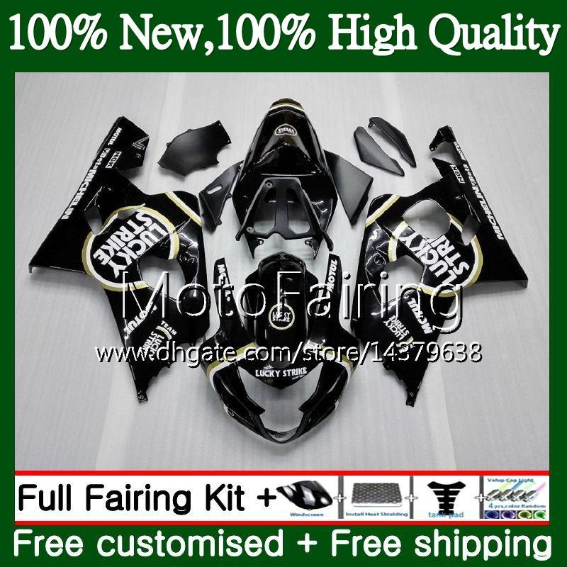 Cuerpo para SUZUKI GSXR 750 GSX R600 K4 GSXR 600 04 05 Afortunado negro 24MF7 GSX-R750 GSX-R600 GSXR750 04 05 GSXR600 2004 2005 Fairing Bodywork