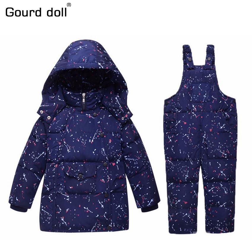2017 Winter Kinder Jungen Mädchen Kleidung Sets 90% Ente Daunenjacke Sets Hosen-Jacke mit Kapuze Baby Jungen Winterjacke Mantel S001