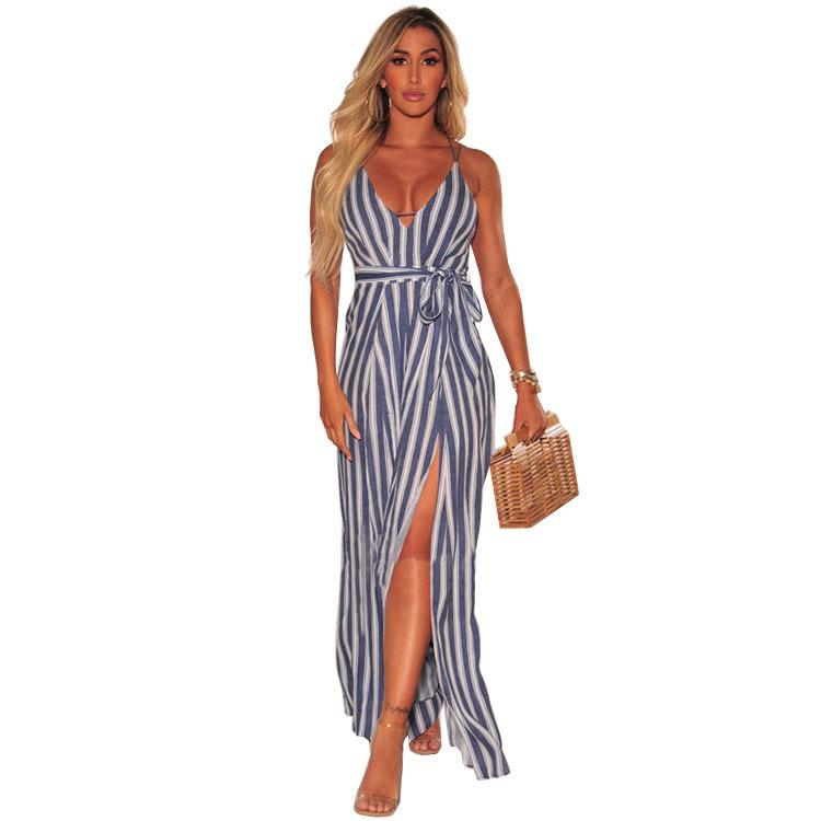 852c39972c9 2019 Europe And America Real 2018 New Style Womens Vertical Stripes Open  Back Split Wide Leg Jumpsuit From Trousseau