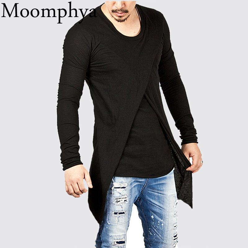 56d53b149 Moomphya 2018 Men Super Stylish Cross Layered Swallow Tail Long Tee Men Long  Sleeve T Shirt Longline Hem Tshirt Streetwear The Who T Shirt T Shirts  Designs ...