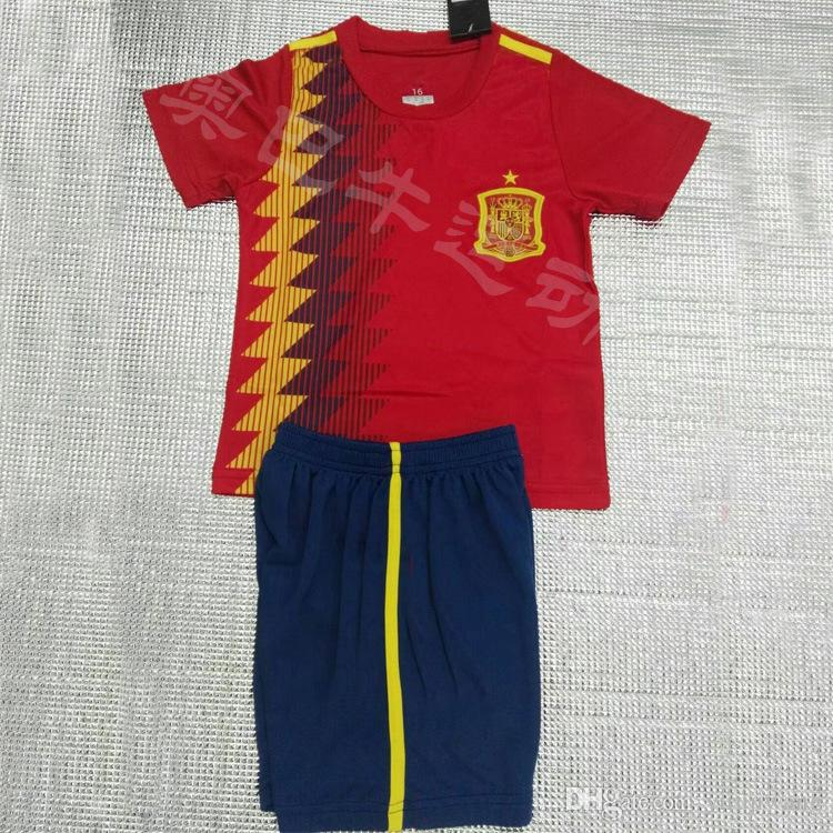 2019 2018 World Cup Spain Soccer Jersey Kids Kit 2018 Spain Home Red Soccer  Jerseys  10 Fabregas  22 ISCO Child Soccer Shirts Uniform Jersey+Shor From  ... dd36161ea