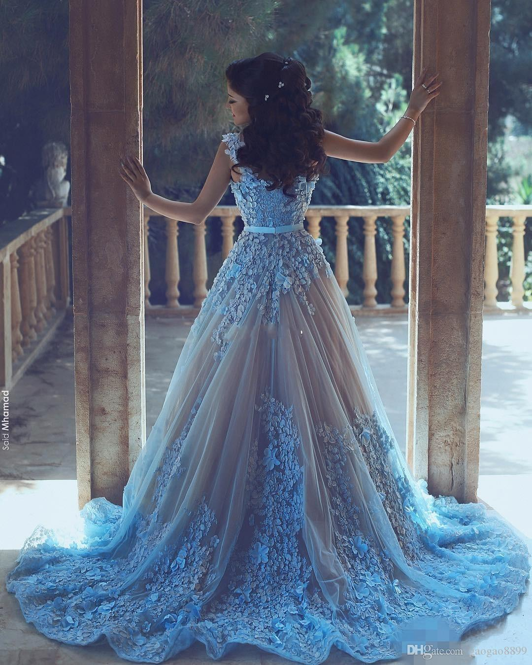 Arabic Women Formal Evening Dresses wit 3D Floral Appliques Tulle A Line Lace Bead Applique Prom Dress 2019 Dresses Party Wear Plus Size