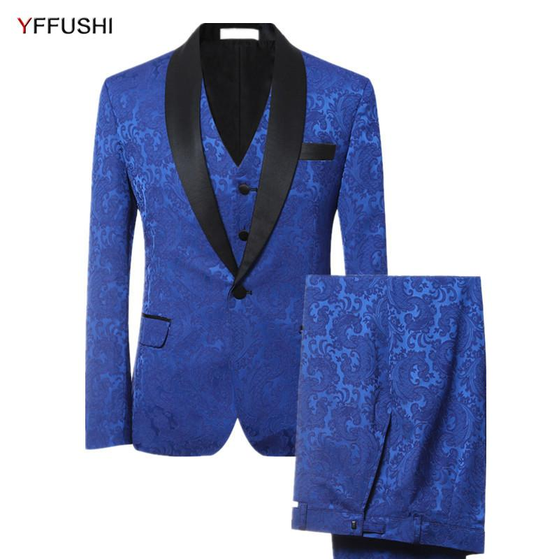b7537f6af1f 2019 YFFUSHI 2017 Brand Men Suit Luxury Blue Jacquard Tuxedo Party Dress  Suits Slim Fit Fashion Casual Plus Size 6XL From Movearound